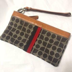 Kate Spade Geometric Design Brown Fabric Wristlet
